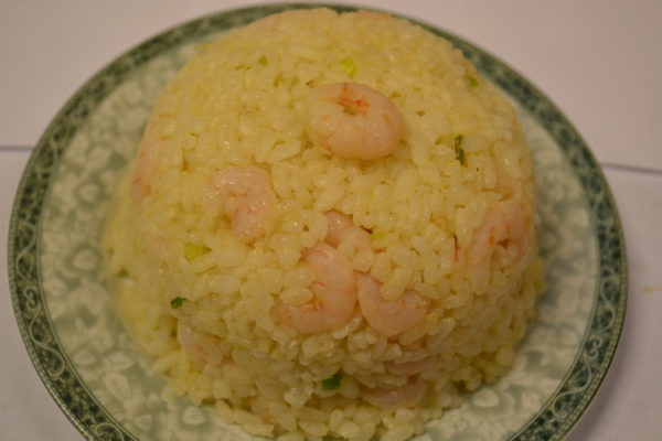Roasted rice with shrimps