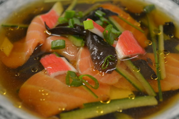 Soup with salmon