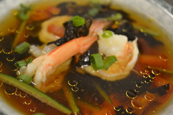 Soup with tiger shrimps