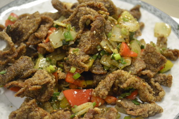 """Spicy roasted beef """"Ziran"""" with caraway"""