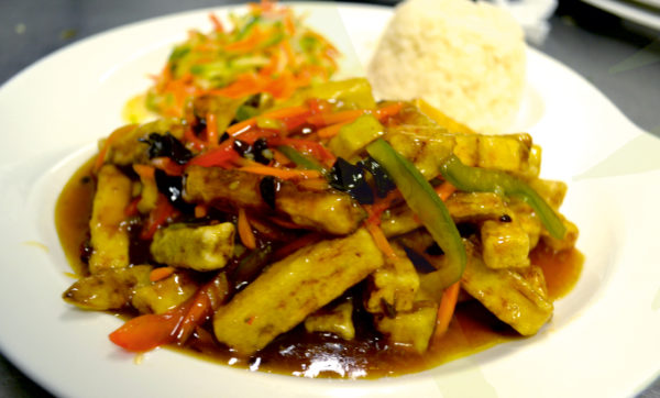 Eggplants in spicy sour-sweet sauce